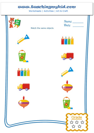 Worksheets For Kindergarten Match The Same Objects 4