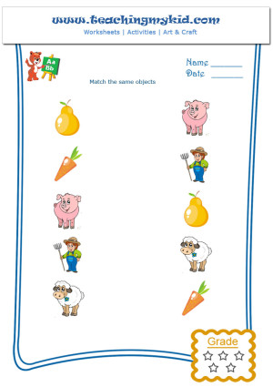 free printable kindergarten worksheets  match same objects free printable kindergarten worksheets