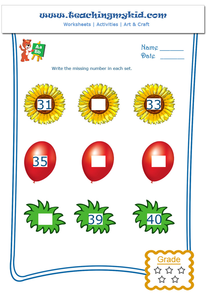 Printable kindergarten worksheets Number Sequences 4 – Kindergarten Sequence Worksheets
