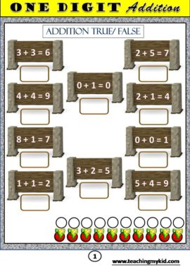 free printable math worksheets - Addition true / false