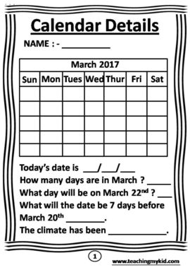 kids worksheets - Monthly Calander Activity Worksheets