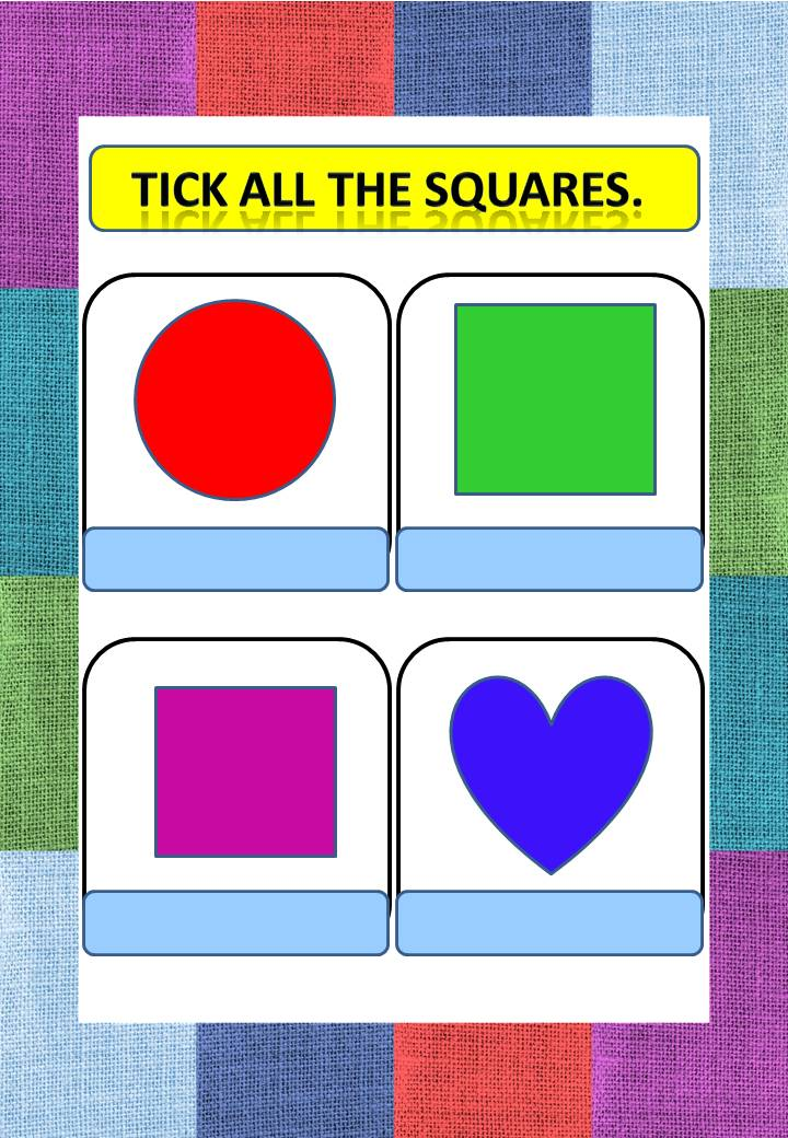 preschool printable worksheets- Tick all the SQUARES