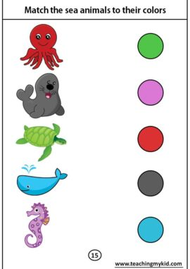 kindergarten worksheets free - Match the sea animals to their colors