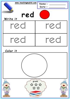 Free Printable Preschool Worksheets Color Identification
