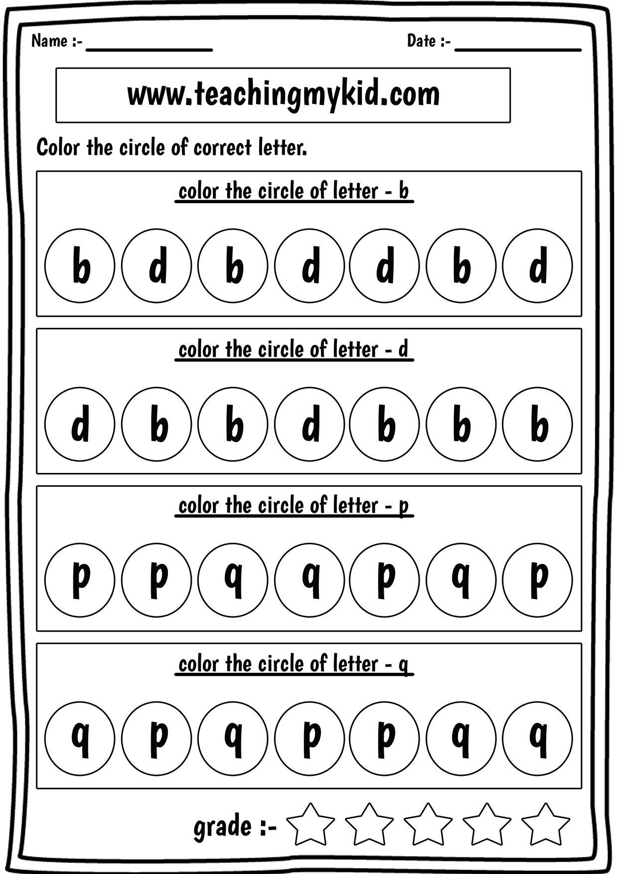 preschool printable worksheets - confusing letters b,d,p,q