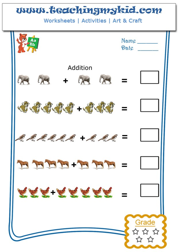 Addition Worksheets printable kindergarten addition worksheets : Pictorial Addition Archives - Teaching My Kid