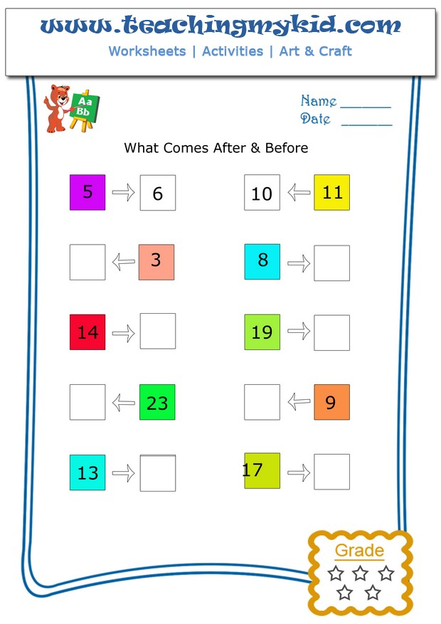 Math worksheets - What comes after & before - Worksheet 1