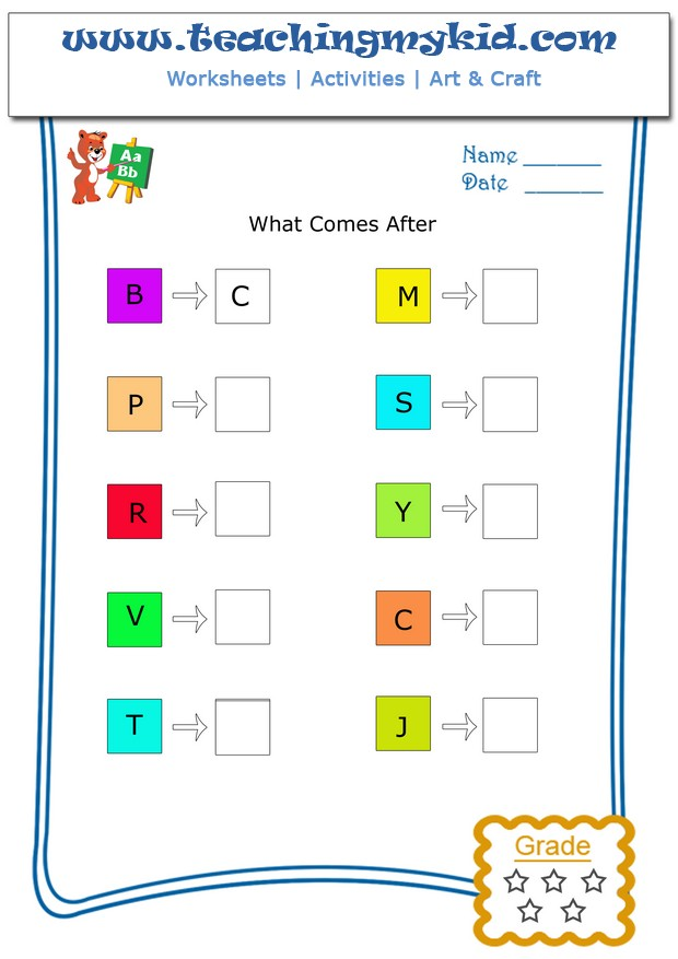 Letter worksheets - What comes after _____ (alphabet) ?