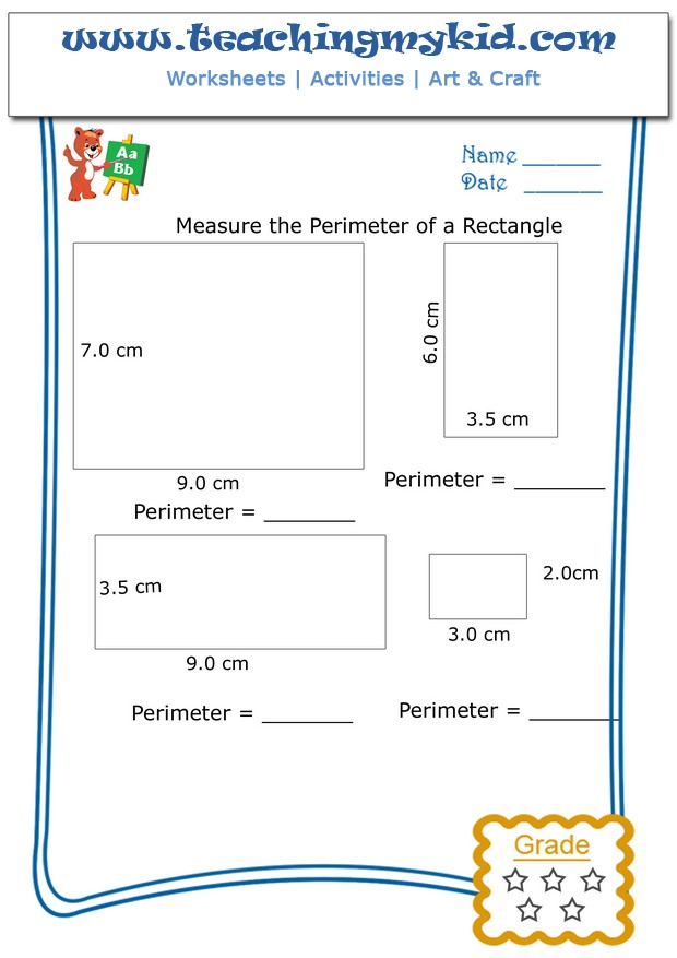 Printable Worksheets grade 2 perimeter worksheets : Measure The Perimeter Of Rectangle Archives - Teaching My Kid