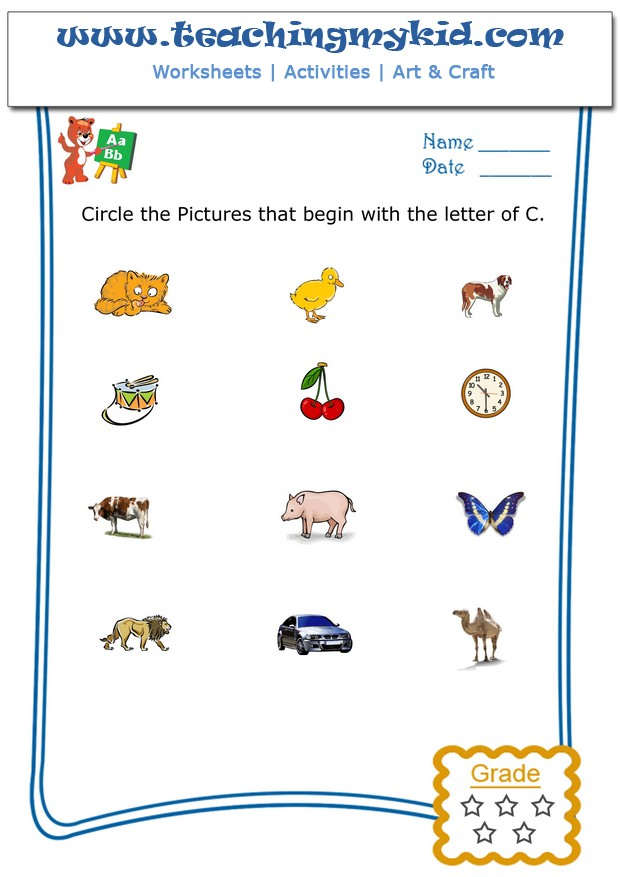 Fun Worksheets For Kids Circle The Pictures That Begin With The Letter C - 35+ Phonics Letter C Worksheets For Kindergarten Images