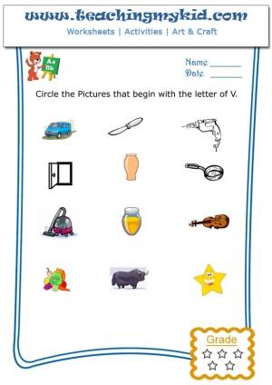 kindergarten worksheets free circle the pictures that begin with the letter v. Black Bedroom Furniture Sets. Home Design Ideas
