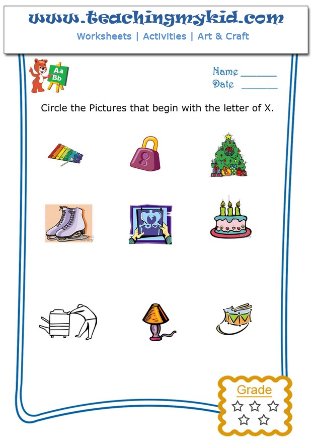 words with letter x kindergarten activities circle the pictures that begin 25761