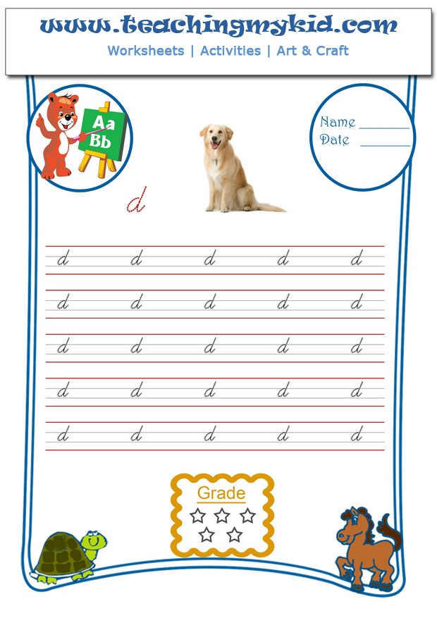 Free Handwriting Worksheets - Write Lower Cursive Letter - D
