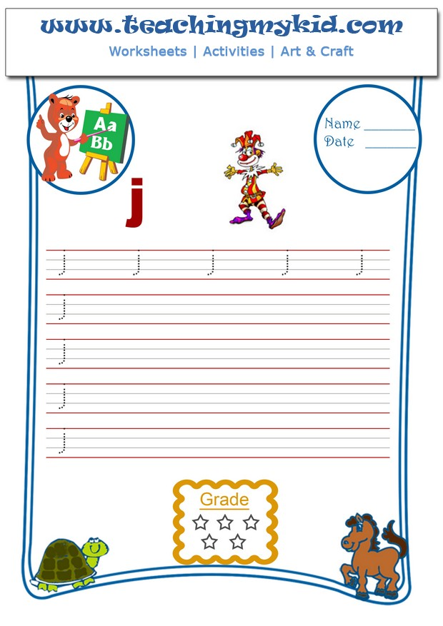 Kindergarten Learning - Write Single Lower Letter - J