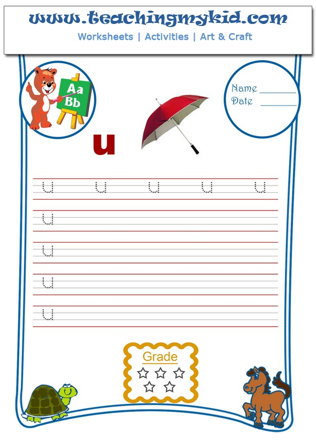 English Worksheets For Kids - Write Single Lower Letter - U