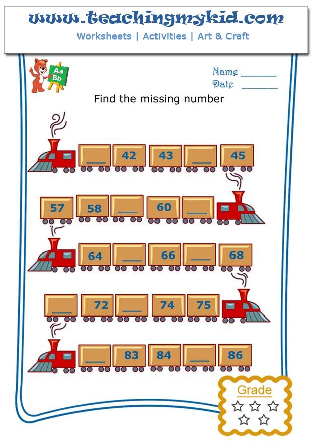 Printable Worksheets math kids worksheets : Kids math worksheets - Write the missing number - 3 - 5