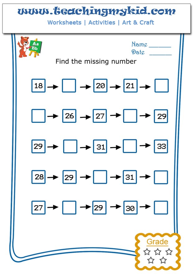 Math Worksheets For Grade 1 - Write The Missing Number - 4 - 7