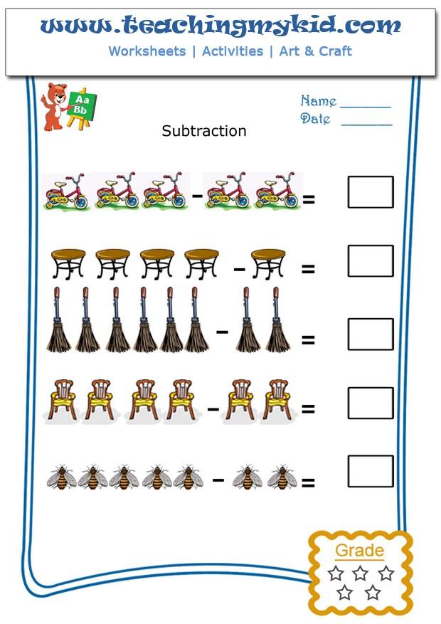 Kindergarten Worksheets Pictorial Subtraction Worksheet 3