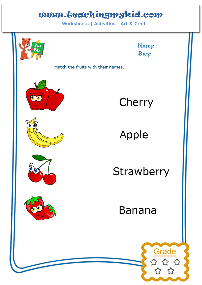 Workbooks matching preschool worksheets : Match The Fruits With Their Names Archives - Teaching My Kid