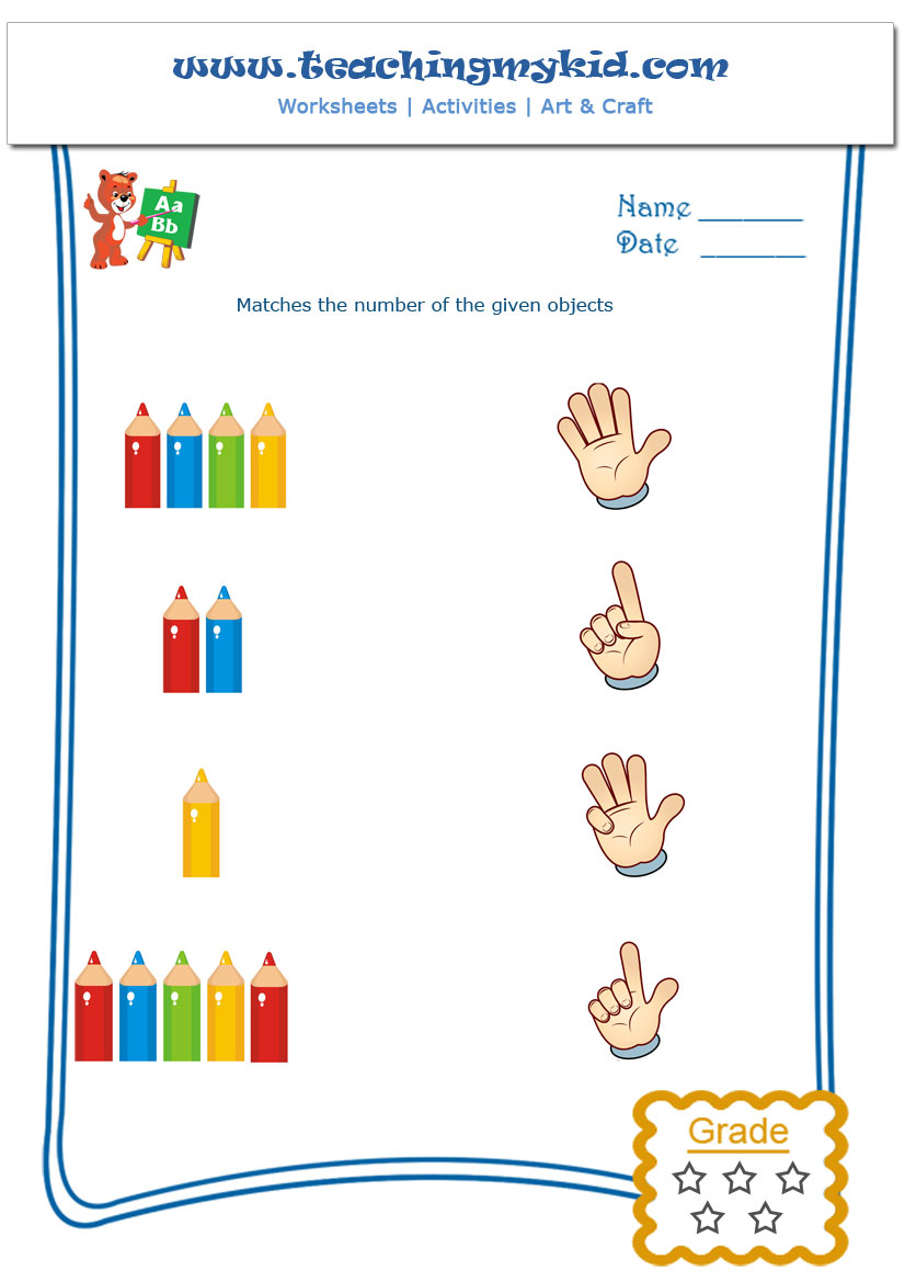 Workbooks matching numbers worksheets : Count And Match Archives - Teaching My Kid