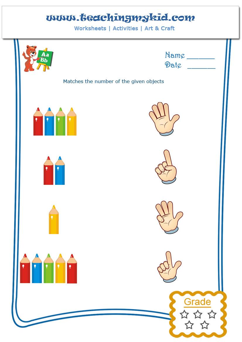 kindergarten worksheet - Count and Match - 1