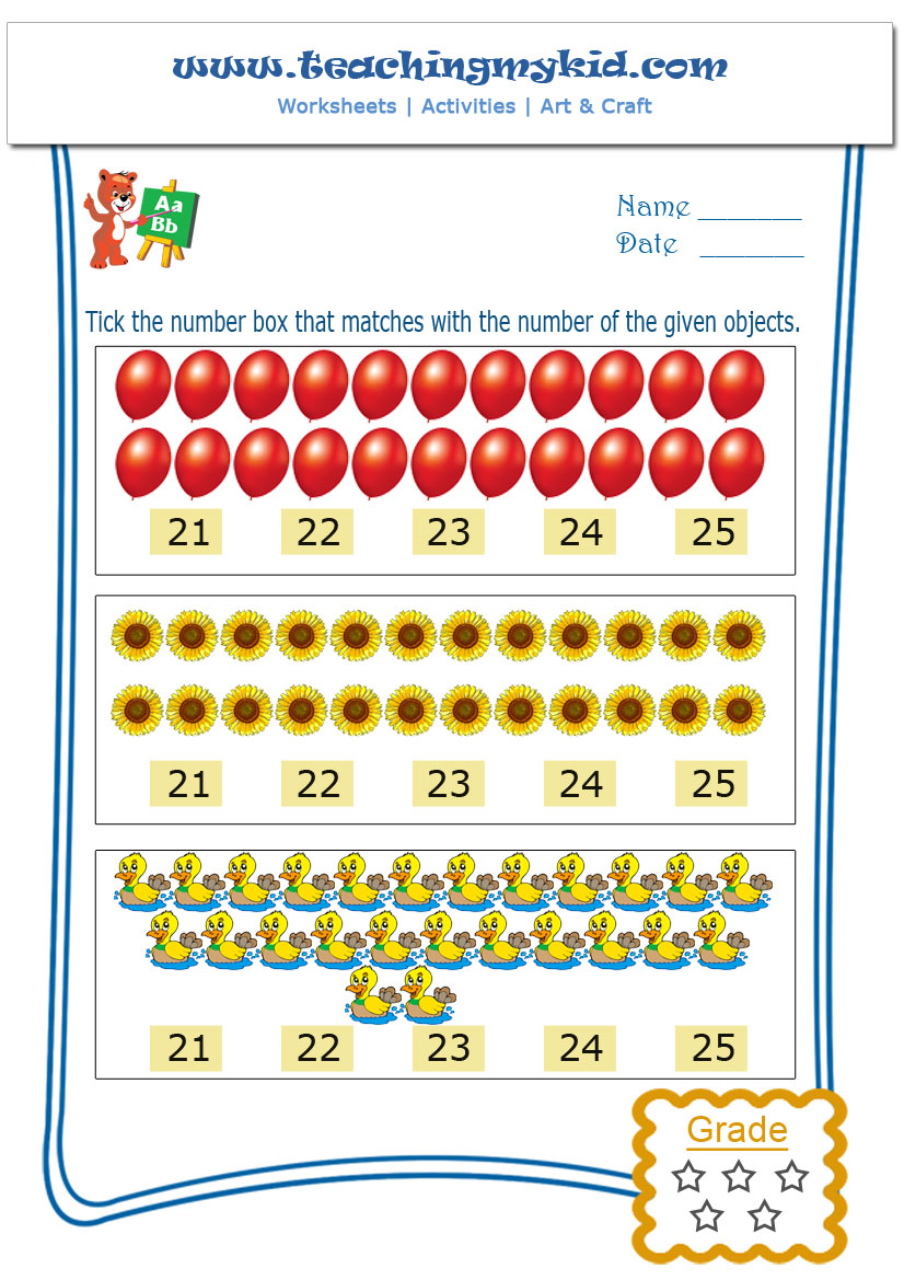 Free preschool printables - Match with number - Worksheet - 5