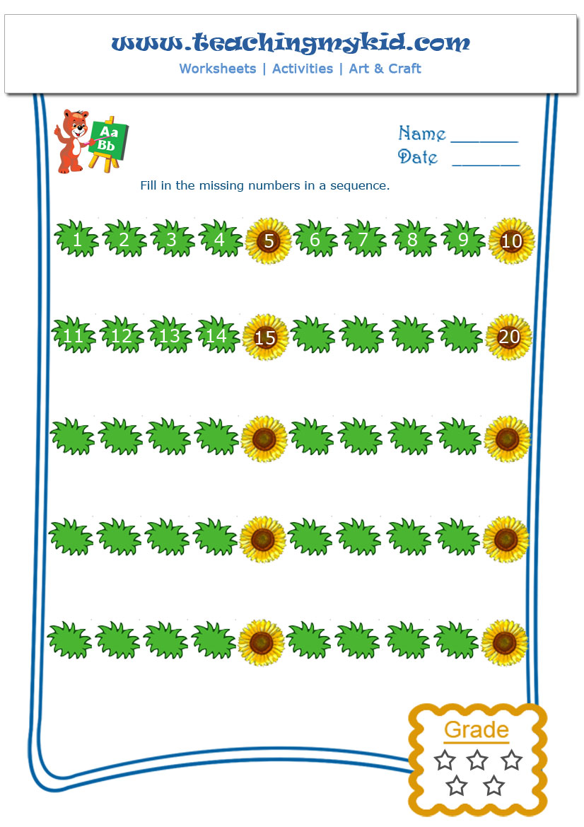 Fun worksheets for kids - Skip Counting by 5 - Worksheet - 1