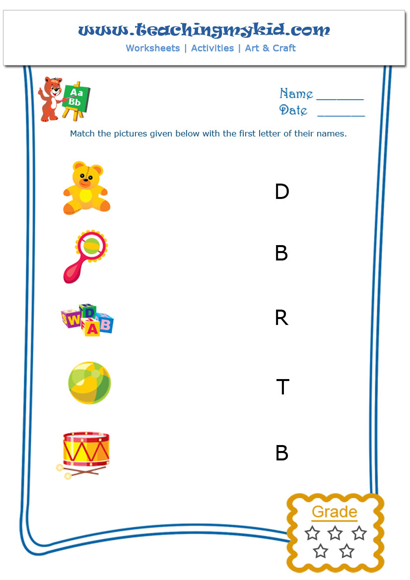 Workbooks pre k letter a worksheets : Match The Picture With The First Letter of Their Name Archives ...