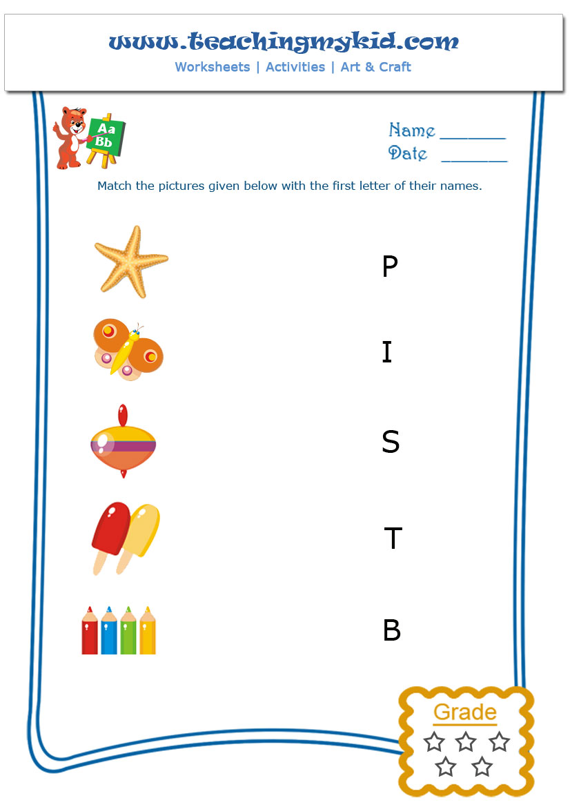 Workbooks letter worksheets kindergarten : Match The Picture With The First Letter of Their Name Archives ...