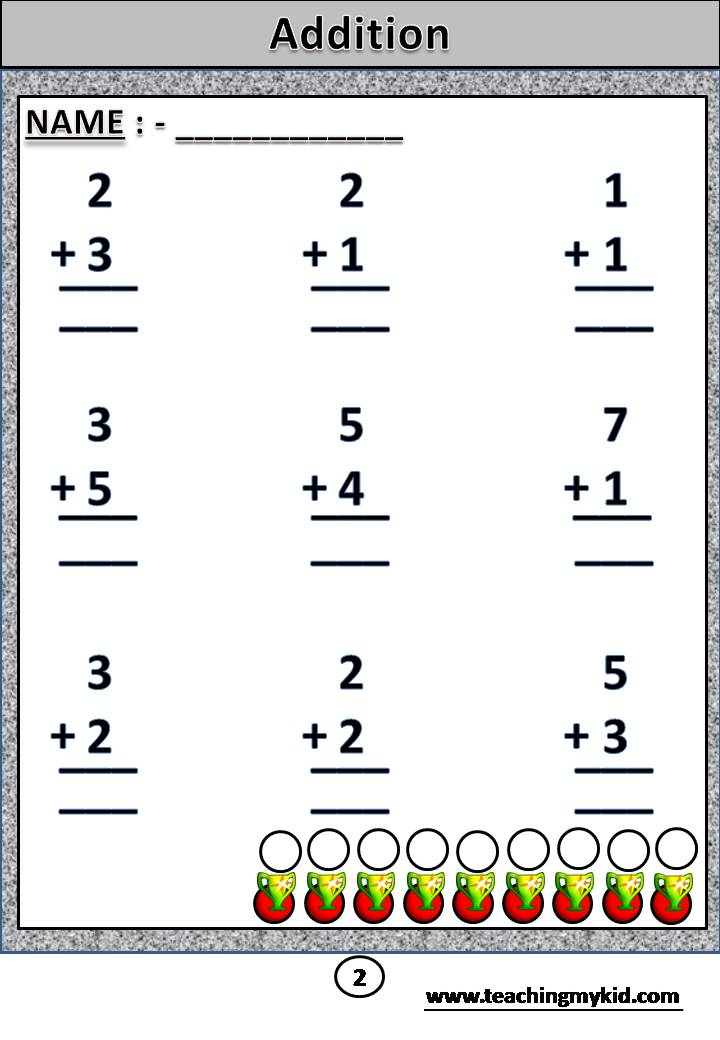 Addition - Sum of two 1 digit numbers without carry Archives ...