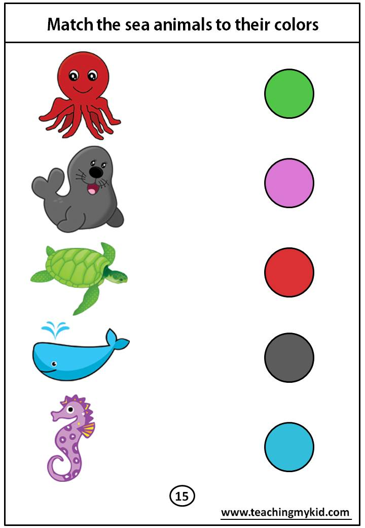 kindergarten worksheets free - Match the sea animals to ...