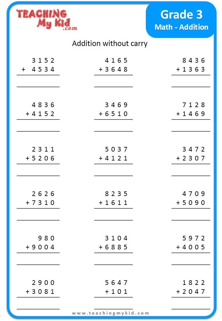 Grade 3 Addition - Free Printable Worksheet - Teaching My Kid
